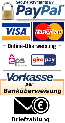 PayPal Sofortüberweisung EPS Barzahlung Briefzahlung Mastercard Visacard