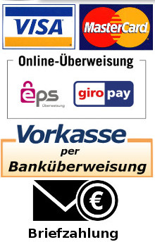 Visacard Kreditkarte, Mastercard Kreditkarte, EPS Sofortüberweisung, Überweisung, Briefzahlung, Barzahlung