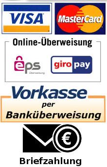 Visacard creditcard, Mastercard creditcard, EPS, Überweisung, Briefzahlung, Barzahlung
